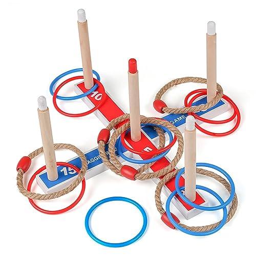 anillo Toss Quoits Juego de anillos de madera para jugar al lanzamiento juego de juegos de madera Kids Fun Throwing Outdoor Indoor Beach for Children /& Adults