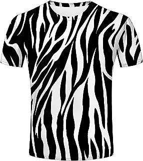 3D Mens Graphic Tshirts Zebra Stripes Texture Printed Creative Novelty Tops Tees