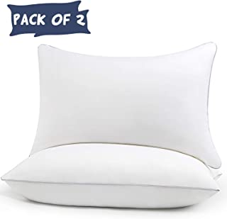 HIMOON Bed Pillows for Sleeping 2 Pack,Queen Size Cooling Pillows Set of 2,100% Breathable Cotton Cover for Side Stomach Back Sleepers