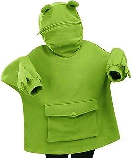 TLM Toys Frog Hoodie, avslappnad dragkedja dam hoodie, rolig groda luvtröja, lös söt sömmar kvinnor tröja höst vinter fest...