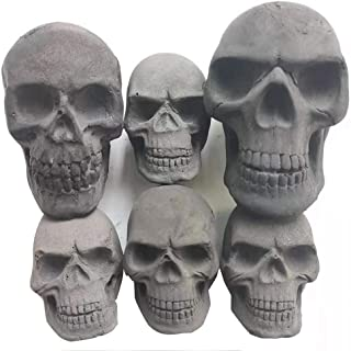 Burnable Imitated Human Skull Charcoal Handicrafts for Indoor or Outdoor Fireplaces, Firepit, Campfire, Halloween Decor, BBQ (Qty 6, Black)