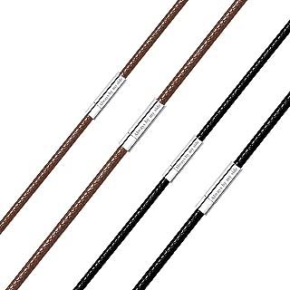 """Richsteel Men Women Black/Brown Braided Wax Rope Necklace 2/3mm Wide 16""""18"""