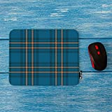 Mugod Plaid Mouse Pad Teal Blue and Orange Plaid Check Seamless Patten Decor Gaming Mouse Pad Rectangle Non-Slip Rubber Mousepad for Computers Laptop 7.9x9.5 Inches
