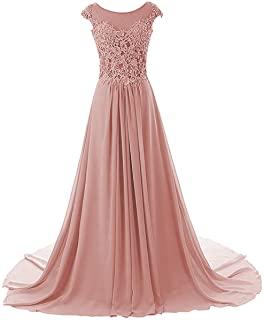 Prom Dresses Long Formal Evening Gowns Lace Bridesmaid Dress Chiffon Prom Dress Cap Sleeve