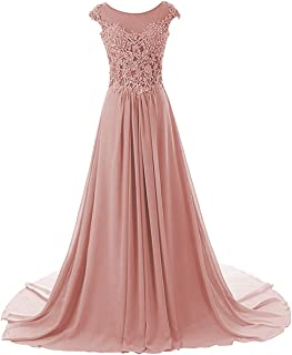 Prom Dresses Long Evening Gowns Lace Bridesmaid Dress Chiffon Prom Dress Cap Sleeve
