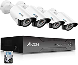 A-ZONE Security Camera System 4 Channel 1080P DVR 4X 960P HD Waterproof Night Vision Indoor/Outdoor Home CCTV Video Wired Surveillance Kits, Customizable Motion Detection,Pre-Installed 2TB HDD