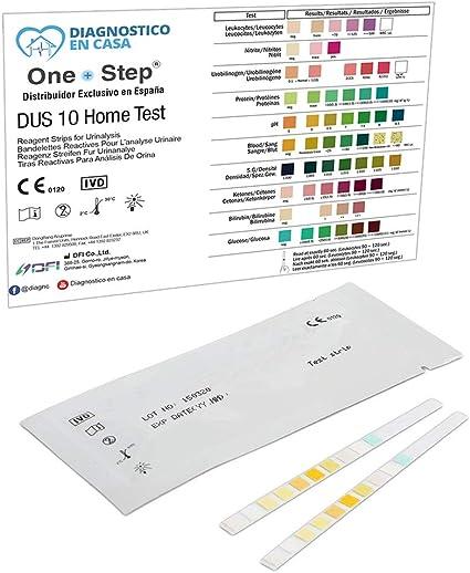 6 x Tiras Reactivas Examen Análisis Orina 10 Parámetros: Leucocitos, Nitritos, Urobilinógenos, Proteínas, pH, Sangre, Densidad, Cetonas, Bilirrubina y ...
