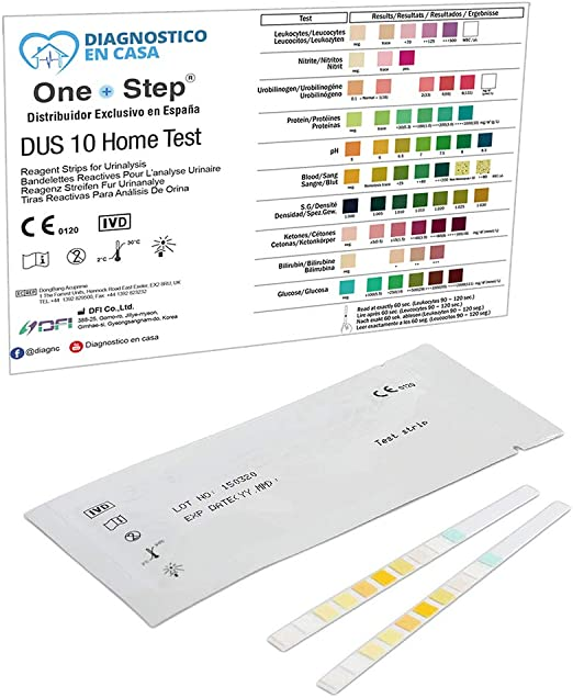 2 x Tiras Reactivas Examen Análisis Orina 10 Parámetros: Leucocitos, Nitritos, Urobilinógenos, Proteínas, pH, Sangre, Densidad, Cetonas, Bilirrubina y ...