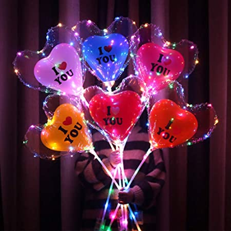 32Pcs Whaline 4 Pack LED Balloons Unicorn Xmas Tree Star Heart Light Up BoBo Balloons with String Lights Glow Bubble Balls for Girl Women Valentines Day Wedding Anniversary Birthday
