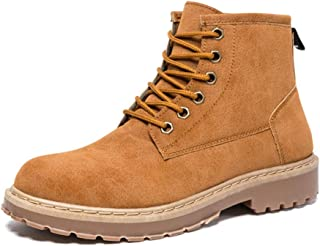 Sunny&Baby Men's Fashion Ankle Work Boot Casual Simple and Comfortable Retro High Top Boot Durable (Color : Brown, Size : 7.5 UK)