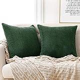 Deconovo Funda para cojin Prodector del Mueble Decorativa Cuadrada 2 Piezas 40x40cm Verde Oscuro