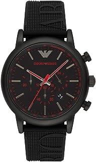 Emporio Armani Men's Luigi Stainless Steel Analog-Quartz Watch with Silicone Strap, Black, 14 (Model: AR11024)