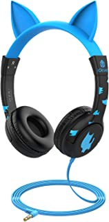 [Upgrade] iClever Boostcare Kids Headphones, Cat Ear Hello Kitty Headphones for Kids on Ear for Boys Girls, Adjustable 85/94dB Volume Control, Childrens Headphones with MIC for School/Tablet, Blue