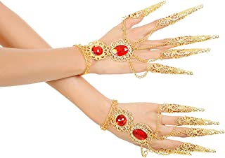 Women Belly Dance Bracelets with Finger Nails Gold Tribal Gypsy Jewelry One Pair