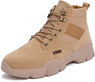 Happy-L Shoes, Classic Casual Ankle Boot for Men Hiking Work Boots Faux Suede & Canvas Split Joint Lace up Anti-Skid Round Toe Rubber Sole