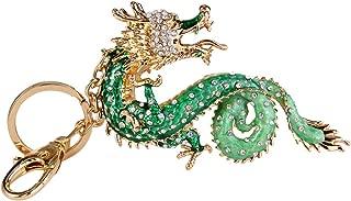 Chinese Dragon Keychain Austrian Crystal Green Enamel