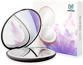 LED Compact Mirror - Laiking Portable Makeup Mirror for Purse Pocket Handbag Size 3.54