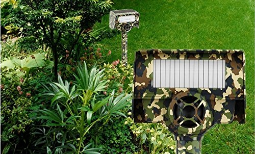 Bell & Howell Powerful Solar Animal Repeller -Camouflage -Built-in Infrared Motion Detector - Covers up to 30 Feet-Works Both Day and Night and is 100% Weather Proof