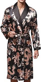 Men Plus Size Bathrobe Simulation Silk Print Sleepwear Robe Pajamas Lingerie Robe with Belt Dressing Gown