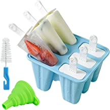 Helistar Popsicle Molds 6 Pieces Silicone Ice Pop Molds BPA Free Popsicle Mold Reusable Easy Release Ice Pop Maker with Si...