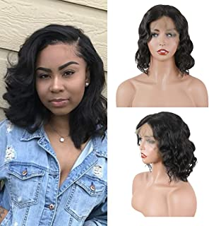 ORIGINAL QUEEN Bob Body Wave Wig 13X4 Lace Front Wigs With Pre Plucked Hairline Lace Frontal Human Hair Wigs Natural Color 8inches