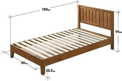 Zinus Lit à plate-forme en bois de 30,5 cm avec tête de lit Alexia/ Support de matelas/ Pas besoin de sommier/ Soutien solide avec lattes en bois/ Montage facile/ 90 x 190 cm