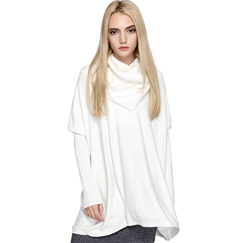 9c810c3364 Women s Cowl Neck Loose Knit Top Cable Oversized Pullover Sweaters