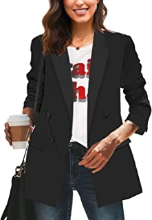 LookbookStore Women's Casual Check Plaid Loose Buttons Work Office Blazer Suit