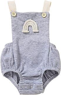 JERFER Neugeborenes Baby Junge Mädchen Regenbogen Stickerei Strampler Ärmellos Rückenfrei Overall A97