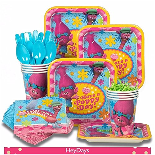 Trolls Standard Tableware Party Supply Pack Dessert Plates Cups Napkins Cutlery