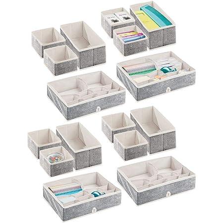 mDesign Juego de 2 cajas para guardar ropa Pr/áctico organizador de armario en 2 tama/ños para los cajones azul turquesa y blanco Bonitas cajas de tela con 2 compartimentos y dise/ño de puntos