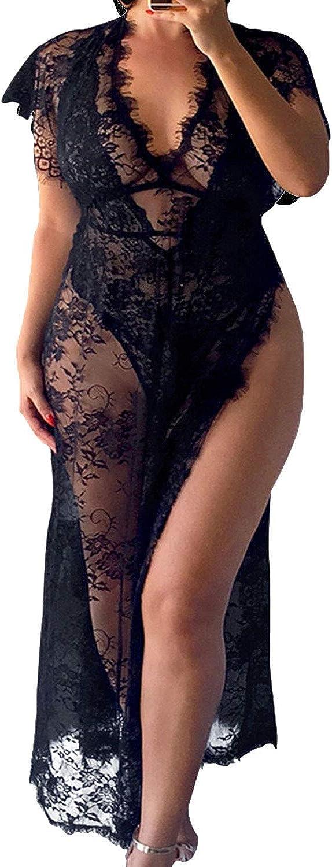Vivilover Womens Lace Floral Long Maxi Beach Dress Swimwear Bikini Cover Up