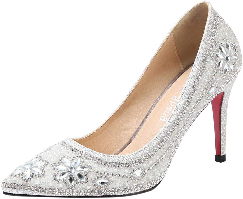 Vitalo Womens Silver Rhinestone High Heel Pumps Ankle Strap Wedding Dorsay shoes