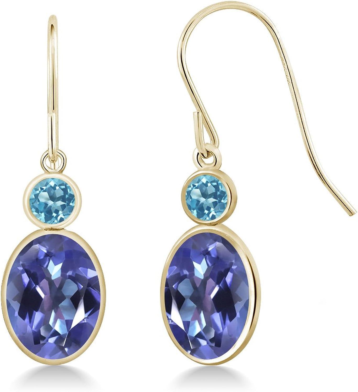 2.90 Ct Oval bluee Mystic Topaz Swiss bluee Topaz 14K Yellow gold Earrings