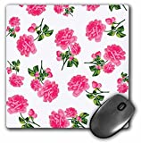 white and hot pink floral mousepad