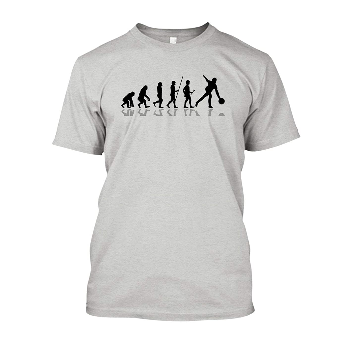 TeeTomato Bowling Evolution T Shirt, Short Sleeve Shirts, Clothes