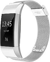 Simpeak Correa Compatible con Fitbit Charge 2 (5.5-8.1 Pulgadas), Loop Correa de Acero Inoxidable Reemplazo Wristband Pulseras Bandas Compatible con Fitbit Charge 2 Fitness con Cerradura, Plata