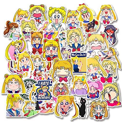 HYKCSS Sailor Moon Anime Sticker Laptop Teléfono Móvil Maleta Skateboard Balance Bike Guitar Vinilo Impermeable Etiqueta De Personalidad Adulta Etiqueta De Refrigerador Decoración Etiqueta