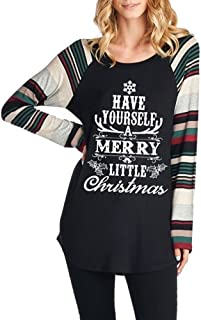 Women's Casual Long Sleeve Christmas Sweater Holiday Tunic Top T Shirts for Women