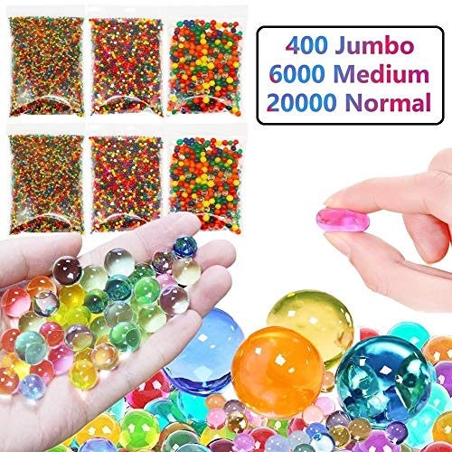 Non Toxic Water Beads Pack - 400 Large, 6000 Medium and 20000 Small Water Gel Beads Kit for Kids Sensory Toys, Home Decorations, Pinata Fillers, Treasure Box Prizes, Party Favors, Fidgets for Kids