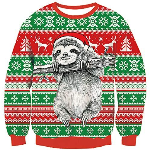 Goodstoworld Golfino Natale Donna Uomo Coppia Famiglia Ugly Christmas Sweater Brutto Divertenti Elfi Colorato Maglione Xmas