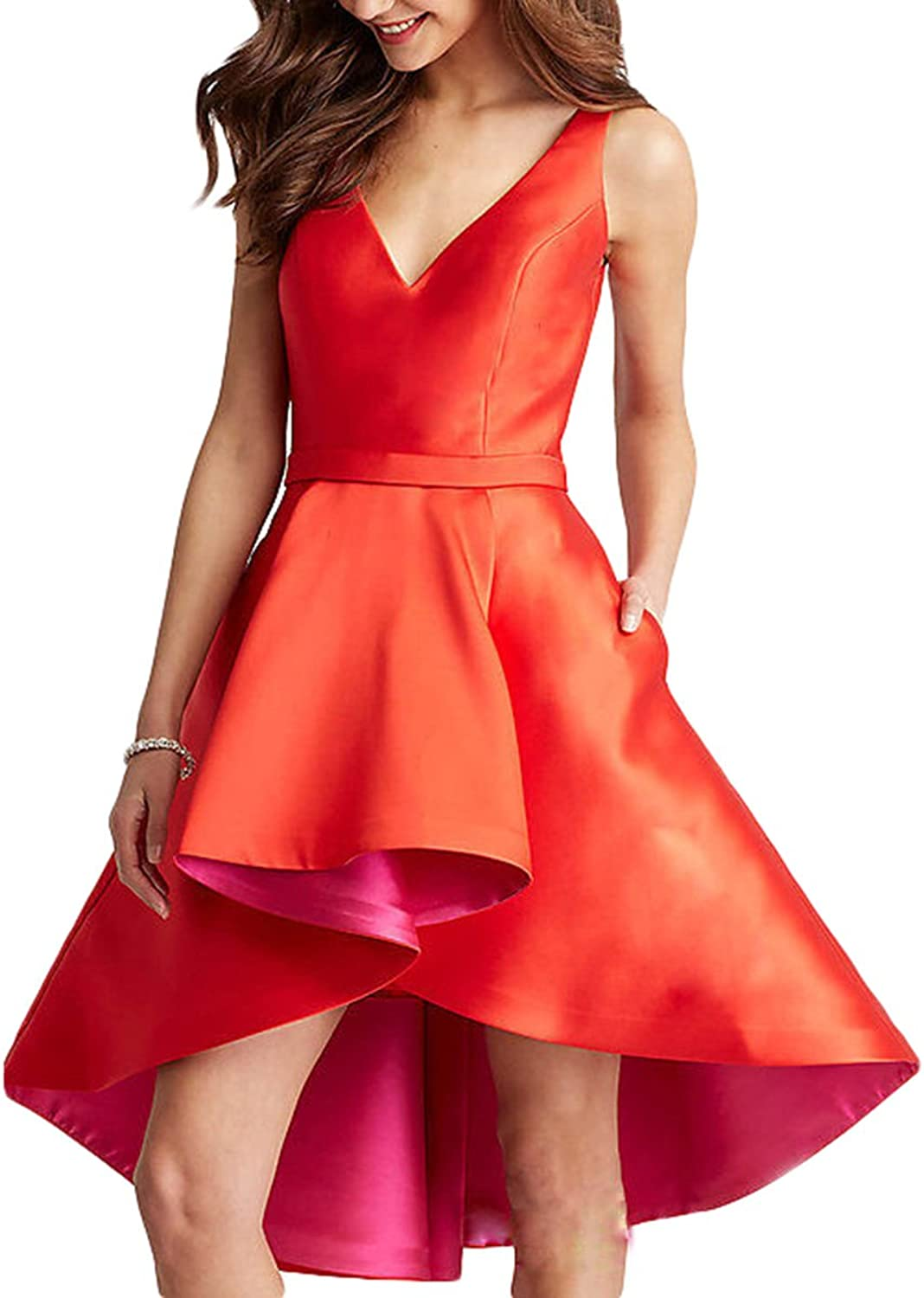 Udresses 2017 VNeck Cocktail Bridesmaid Dress High Low Backless Prom Gowns for Girls UD20