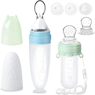 Termichy Baby Food Feeder Set, Silicone Pacifier Feeder and Squeeze Spoon Feeder for Infant Food Dispensing and Feeding