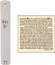 TALISMAN4U Waterproof White Mezuzah Case with Scroll Classic Judaica Israel Plastic Door Mezuza Silver Shin (5 Inches - 12...