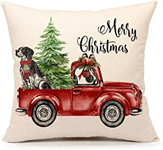 4TH Emotion Red Truck with Christmas Tree Dog Throw Pillow Cover Farmhouse Cushion Case for Sofa Couch 18x18 Inches Cotton Linen