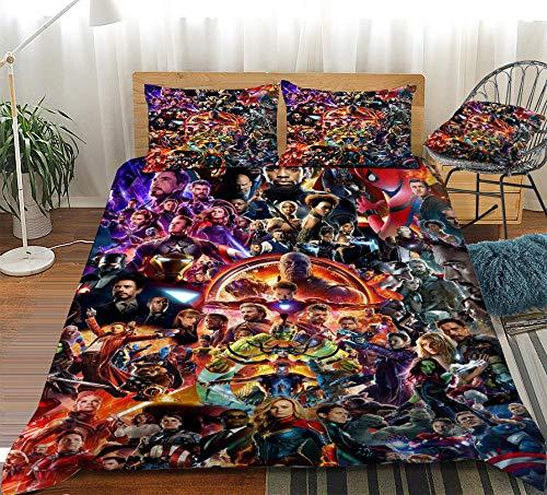 KIrSv Federa Copripiumino The Avengers 3D Print Pattern, miglior Regalo per la Famiglia e Gli Amici, Decora la Camera da Letto, l'appartamento, la Migliore Biancheria da letto-4-220x260cm (3 Pezzi)