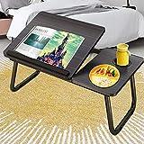 Laptop Desk for Bed,Asltoy Laptop Bed Tray Table,Foldable Lap Desk Stand Notebook Desk Adjustable Laptop Table for Bed Portable Notebook Bed Tray Lap Tablet with Cup Holder (Black-2)