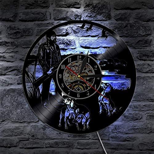 Reloj de pared de vinilo con diseño de perro de caza y animales, para regalo de cumpleaños, decoración de fiestas LED