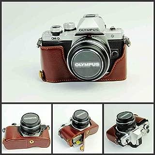 BolinUS Handmade Genuine Real Leather Half Camera Case Bag Cover for Olympus OM-D E-M10 EM10 Mark II Bottom Opening Version + Hand Strap - Coffee