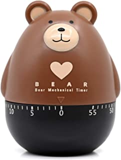 Dolovemk Kitchen Timer,Analog Timer,60 Minute Wind Up Timer Egg Timer-Loud Ring Timers,No Batteries Required 100% Mechanical (Bear)